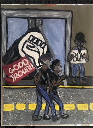 "Original acrylic art with Black Lives Matter fist and ""Good Trouble"""